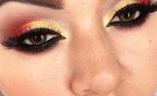 Maquillaje de Ojos: Rojo con Dorado
