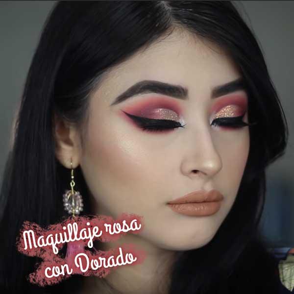 maquillaje-rosa-con-dorado